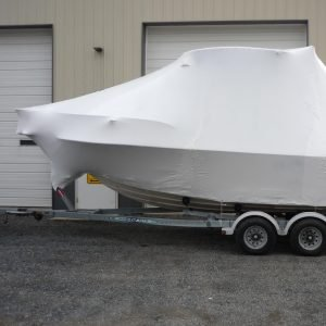 Shrink wrapped boat