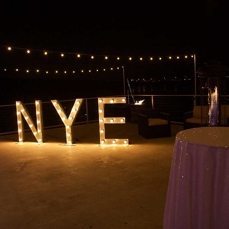 NYE Lights Sign on the Bay Denver CO New Years Eve Corporate Event